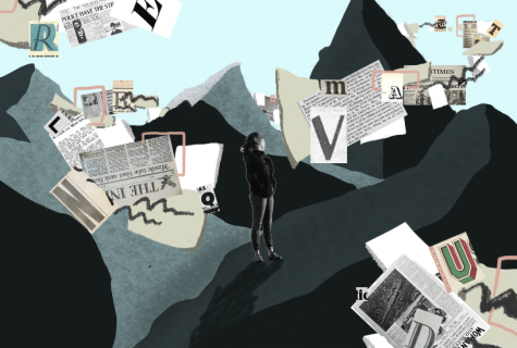 Illustration of woman standing on mountain landscape with newspapers and letters floating like clouds.