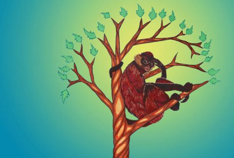 Illustration of a primate in a tree with different animals and objects in its roots