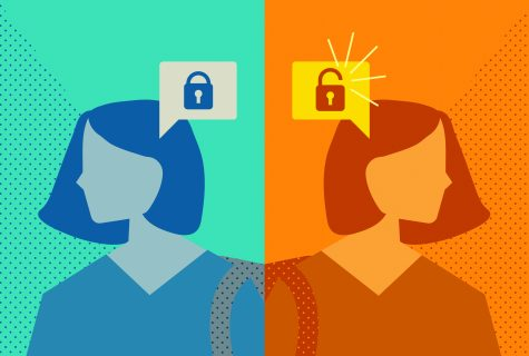 Illustration of two women, one with a lock symbol near her brain, and the other with an unlock symbol