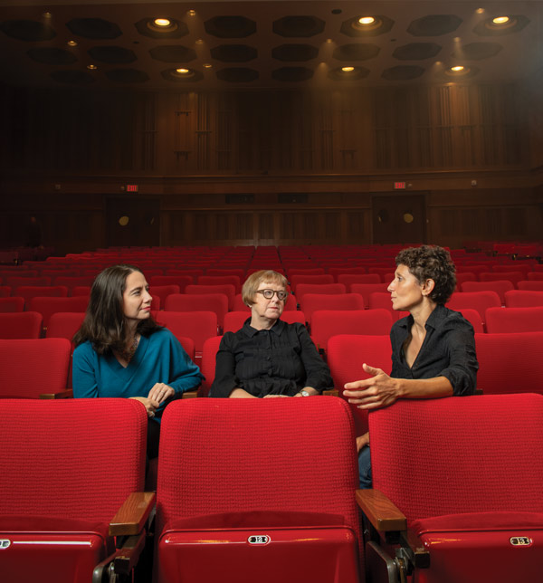 Donna Kornhaber, Sabine Hake and Paola Bonifazio sitting in a movie theater