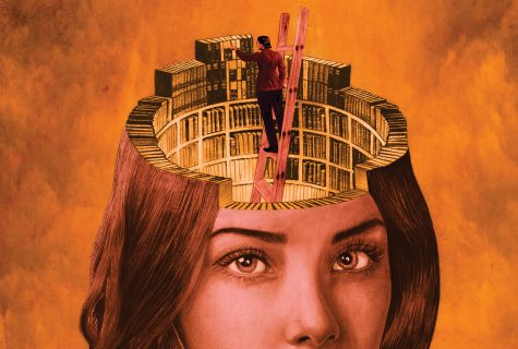 Stylized illustration of a woman on a ladder reaching for library books inside of a larger woman's head.