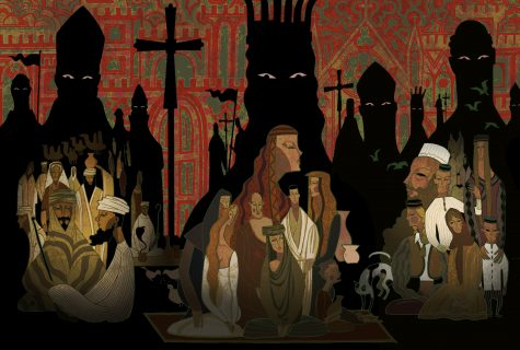 Three groups of people gather during the Crusades as shadowy figures loom in the background.Three groups of people gather during the Crusades as shadowy figures loom in the background.