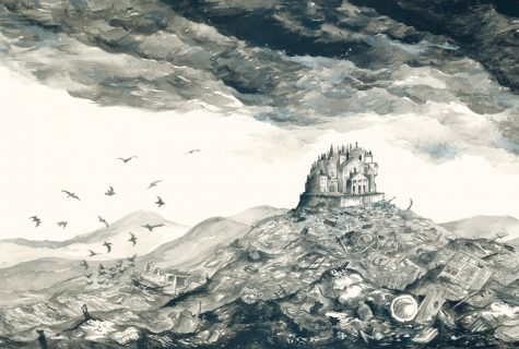 Illustration of the Heap House, home of the Iremonger family, surrounded by the great rubbish heaps of London from The Iremonger Trilogy.