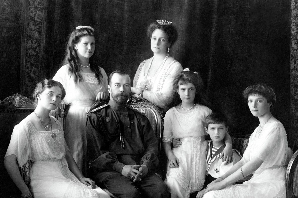 Nicholas II of Russia with the family (left to right): Olga, Maria, Nicholas II, Alexandra Fyodorovna, Anastasia, Alexei, and Tatiana. Livadiya, 1913. Portrait by the Levitsky Studio, Livadiya.