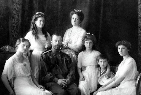 Nicholas II of Russia with the family (left to right): Olga, Maria, Nicholas II, Alexandra Fyodorovna, Anastasia, Alexei, and Tatiana. Livadiya, 1913. Portrait by the Levitsky Studio, Livadiya.
