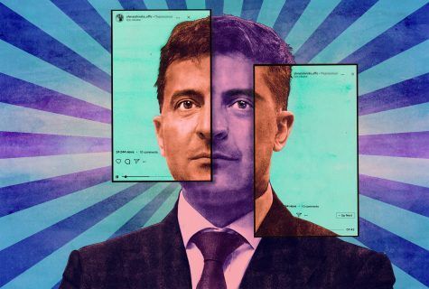 Stylized illustration of Ukraine President Volodymyr Zelensky with social media superimposed over his face.