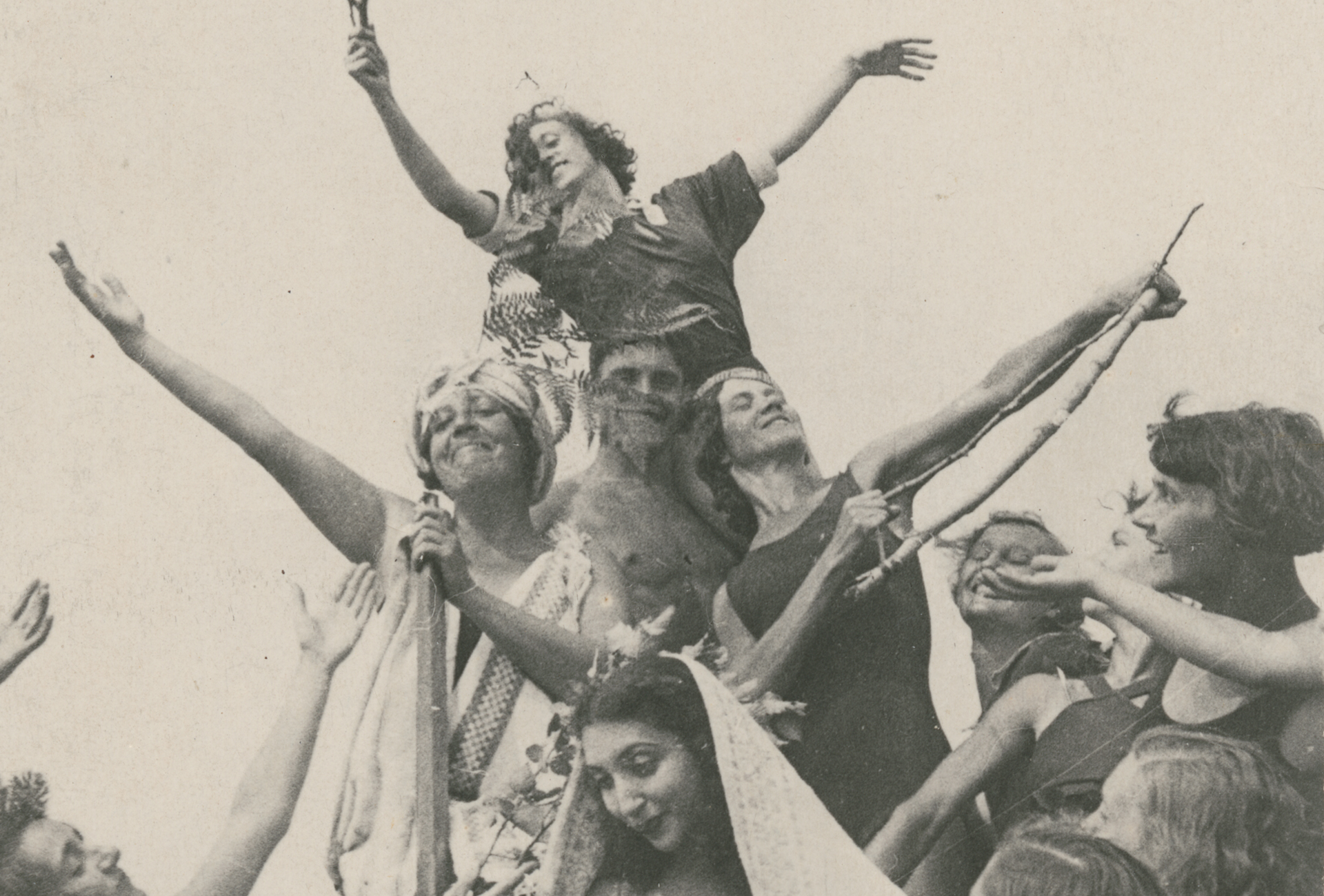 """Old photo of American dancer and choreographer Pauline Koner with her students from the Lesgaft Physical Culture Institute demonstrating their version of the """"new Soviet Dance."""" Koner taught and performed in the Soviet Union from 1934 to 1936."""