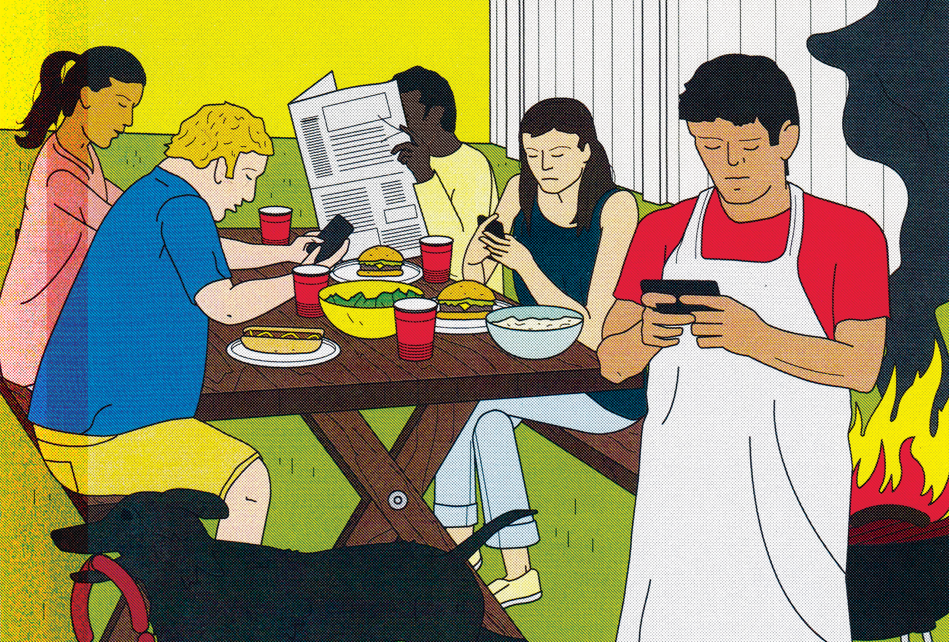 Stylized illustration of a backyard barbecue with all of its guests looking down at their phones and not talking to each other. All the while a fire has begun in the grill and appears to be getting out of control. An excited dog makes off with a link of sausages in its mouth.