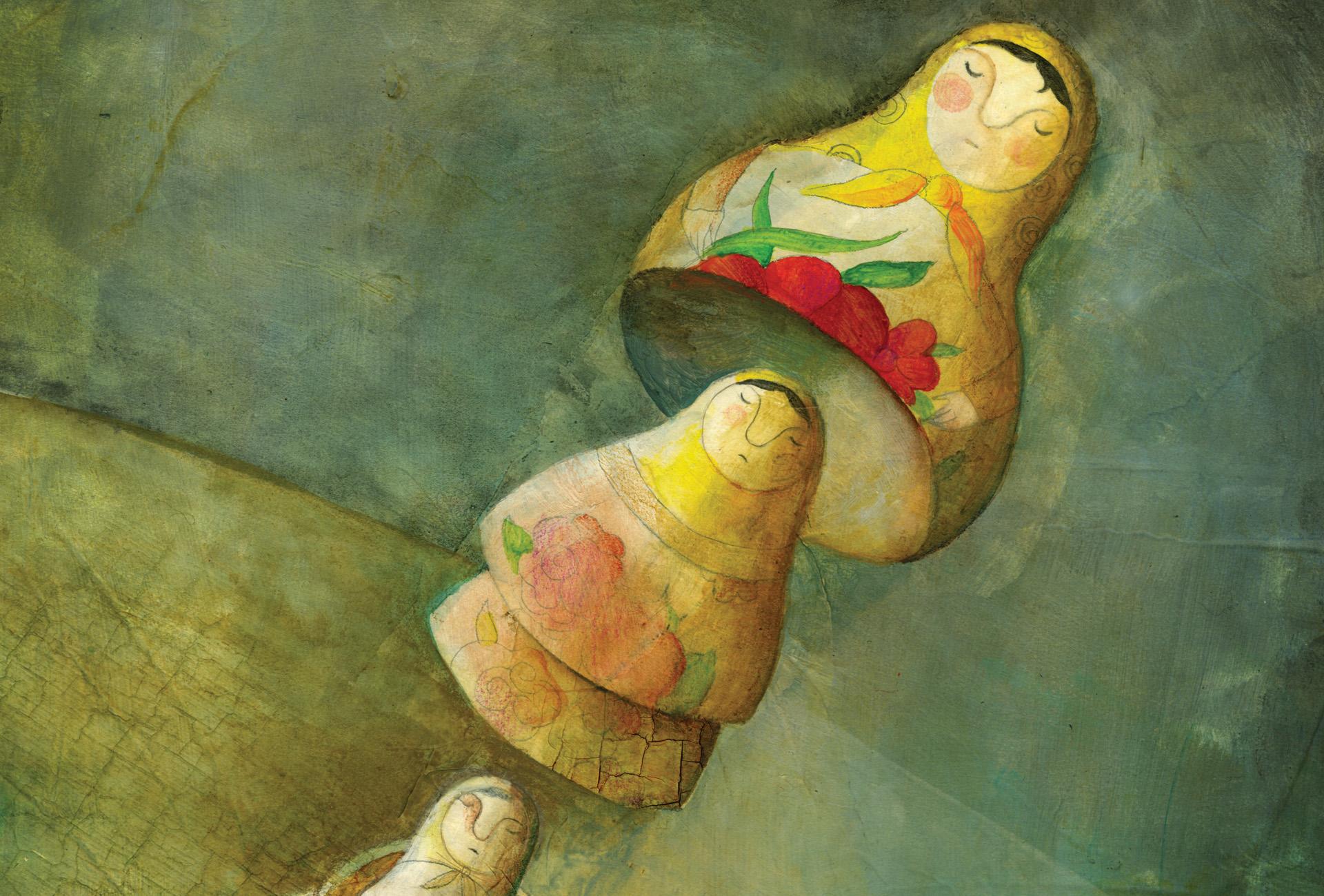 Illustration of Russian nesting dolls.