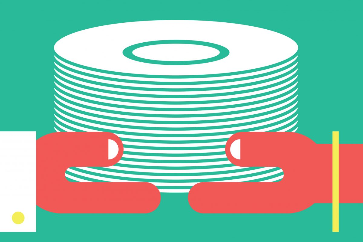 Illustration of hands holding a stack of white dishes.