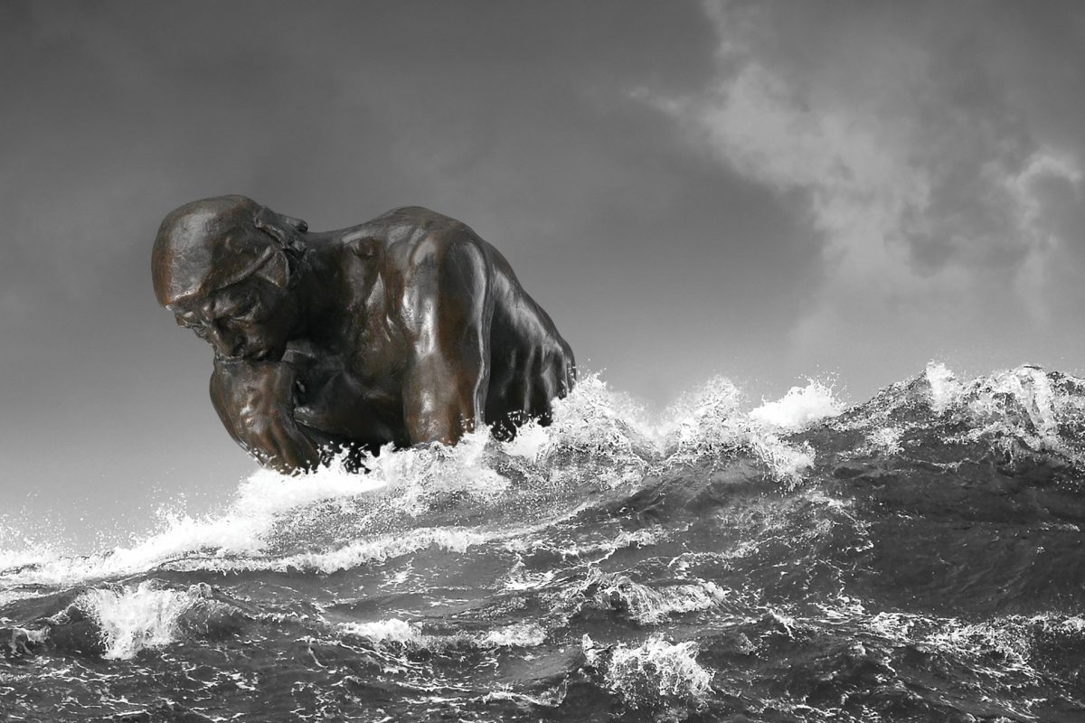 The Thinker statue is slowly engulfed by crashing waves, alluding to the reality of climate change.