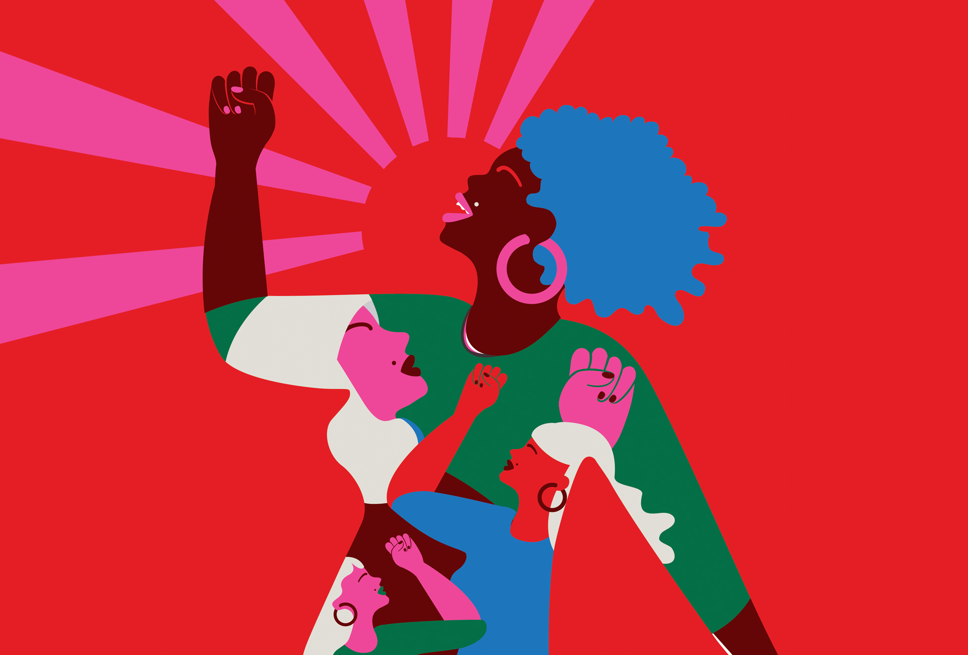 Illustration of a women yelling with a raised fist against a bright red background. In her shirt, there is a pattern of various women with their fists raised.