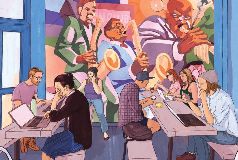 Illustration of the interior of a restaurant filled with millennials on their computers or devices. An old mural of an African-American jazz band overlooks the scene, suggesting gentrification.
