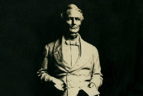 Black and white photograph of the Jefferson Davis statue in sculptor Pompeo Coppini's studio.