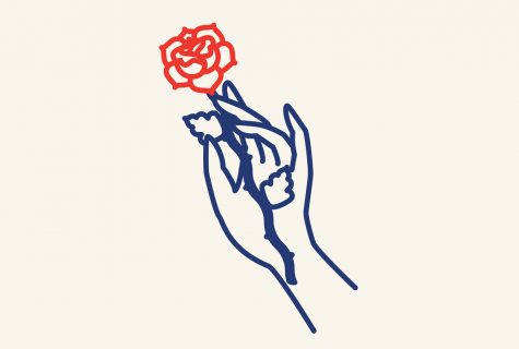 Stylized line illustration of a hand holding a red rose.