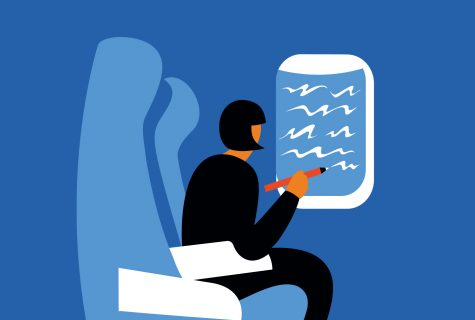 Surreal illustration in a simple style of a woman sitting in a plane seat while she writes in clouds on the window with her pencil.
