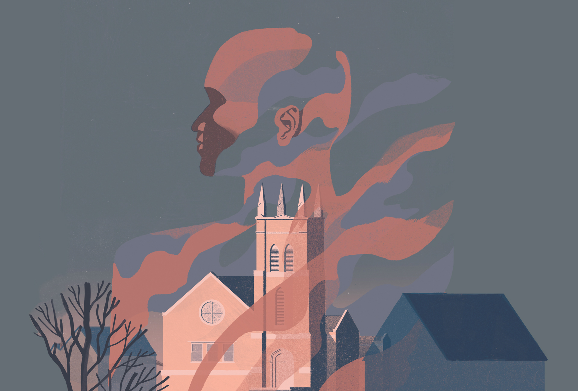 Surreal illustration of a church in Austin amid a neighborhood. A ghostly mist floats above the church and into the grey sky. The apparition is in the shape of a profile of an African-American's face.