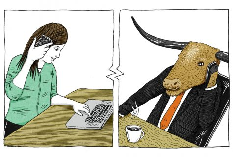 Illustration of a student speaking to a Liberal Arts representative over the phone. The rep is Bevo wearing a suit.