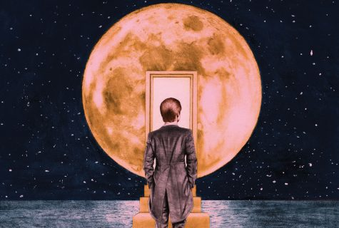 Surreal illustration of a lone man in a suit, walking up stairs over a night-lit ocean to a door inside of the moon.