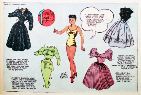 "Comic book panel from Jackie Ormes' ""Heartbeats"" (1950's)."