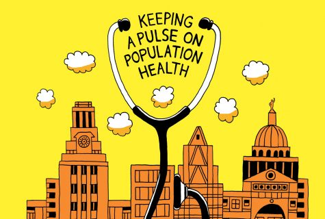 "A simple drawing of the Austin skyline. A large doctor's stethoscope looms in front of the skyline bracketing the words, ""Keeping A Pulse on Population Health."""