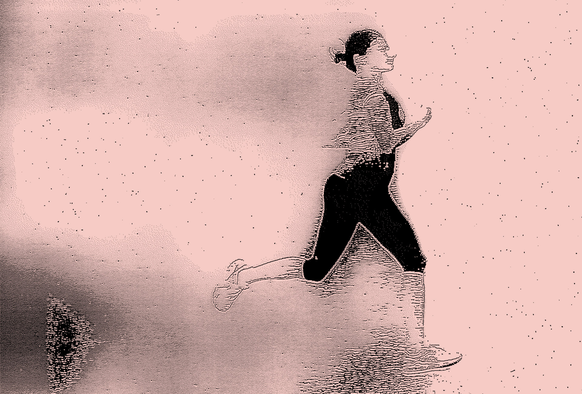 Running woman slowly decaying through a photocopy technique.