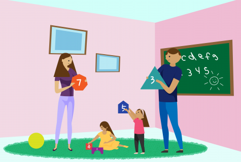Illustration of parents standing holding shapes with numbers with two children playing on the floor in a home setting with pink walls and a chalkboard on the wall.