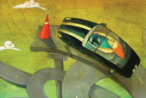 A stylized illustration of a woman in a car driving off of an unfinished highway. A single orange cone stands in her way.