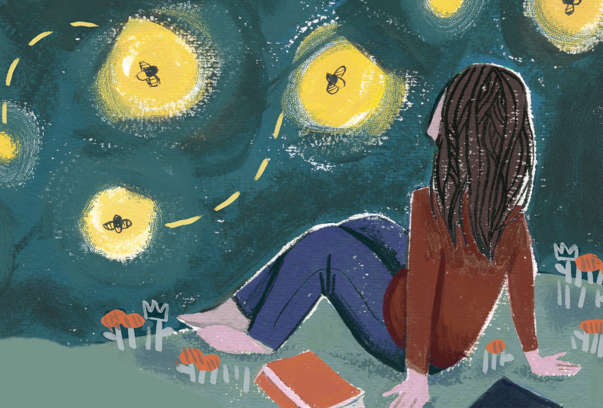Gauche painting of a young woman sitting atop a field looking up at the night sky alit with fireflies..
