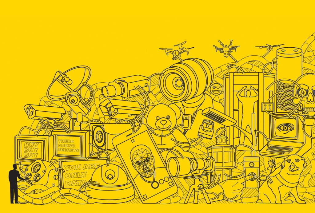 Wireframe illustration of a pile of surveillance equipment, cameras, microphones, drones, cables, and a Terminator all in a giant junk pile against a yellow background.