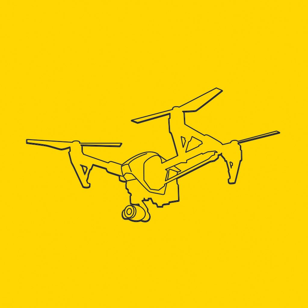 Wireframe illustration of a drone against a yellow background.