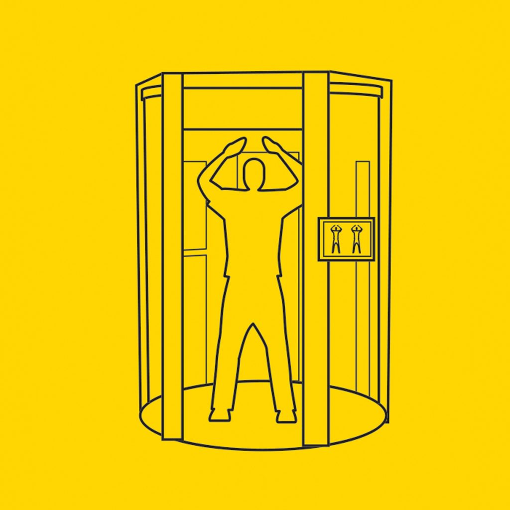 Wireframe illustration of a person inside a full body airport scanner with their arms raised against a yellow background.