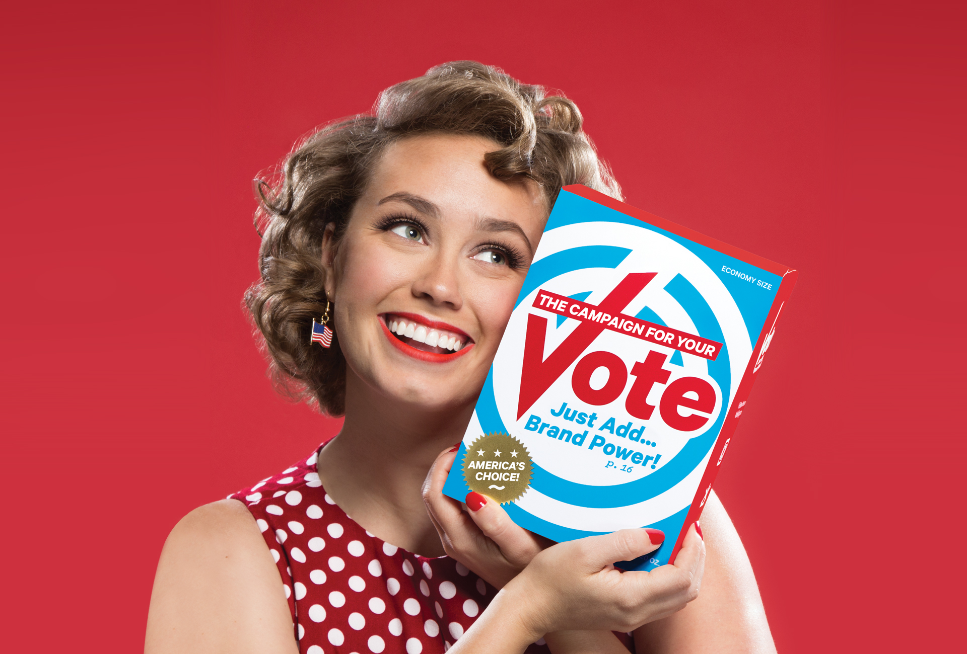 A tongue-in-cheek photo of a smiling woman holding a brightly branded