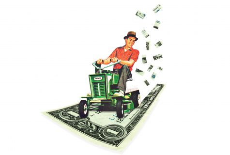 Photo collage of a man riding a lawnmower over an oversized dollar bill.