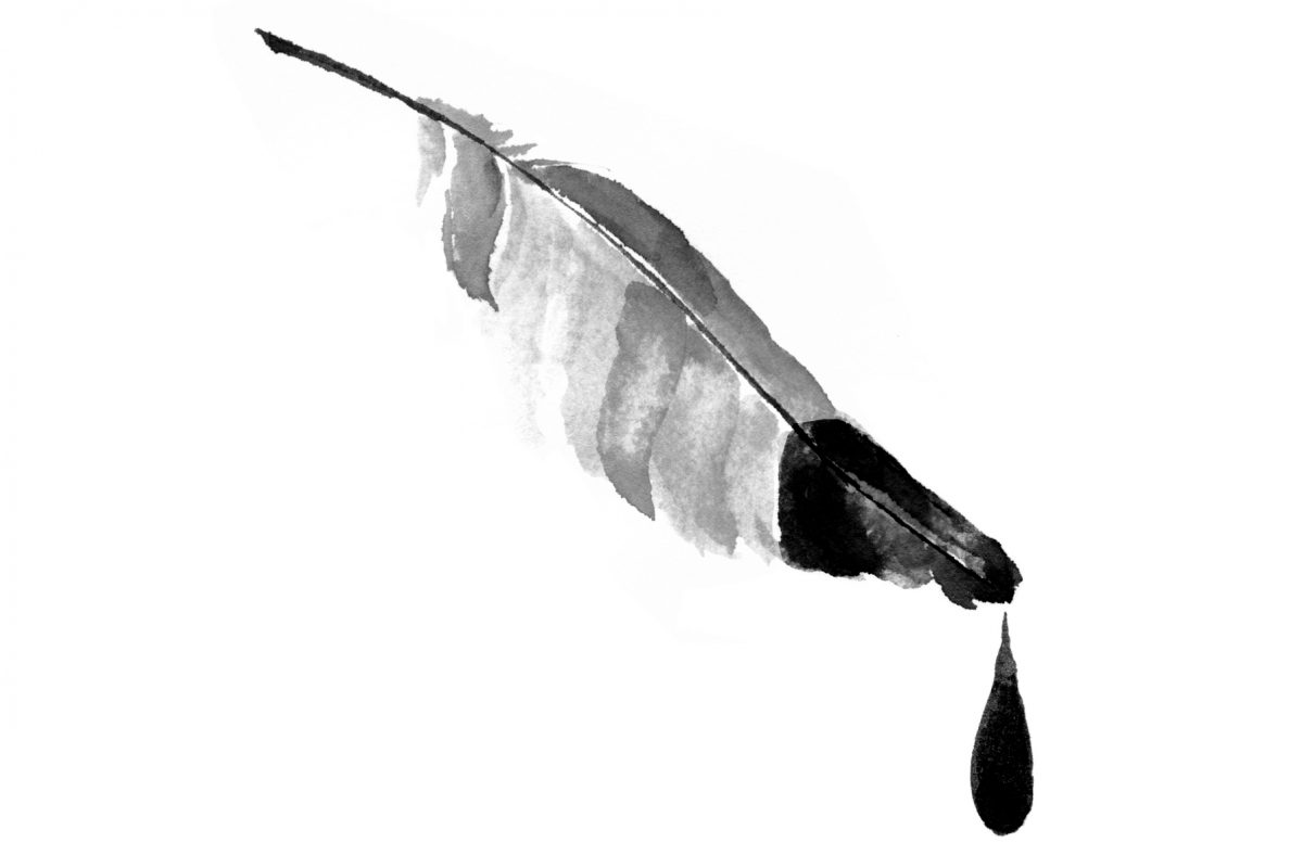graphic with feather dripping ink off the end