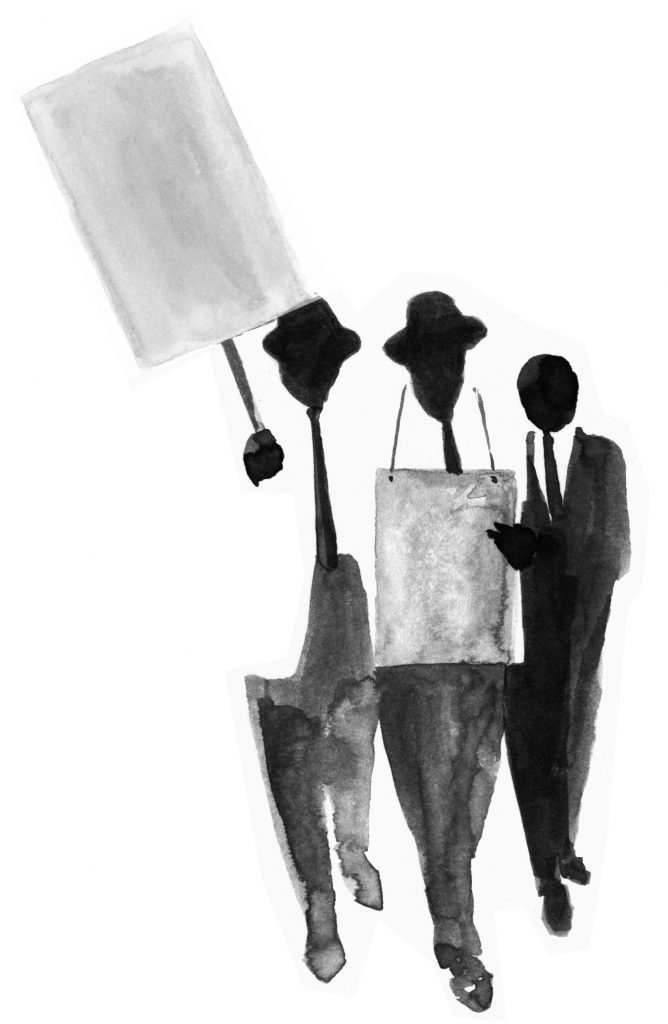 Civil rights movement illustration featuring three men in suits holding signs.