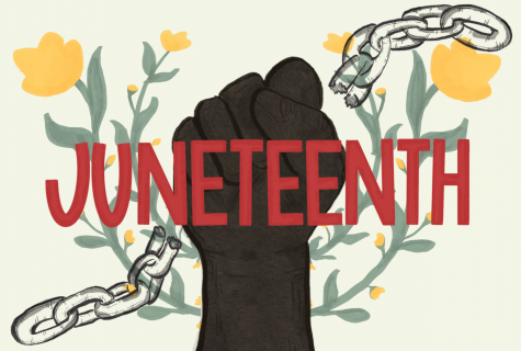 Juneteenth illustration with yellow flowers, first, broken chains.