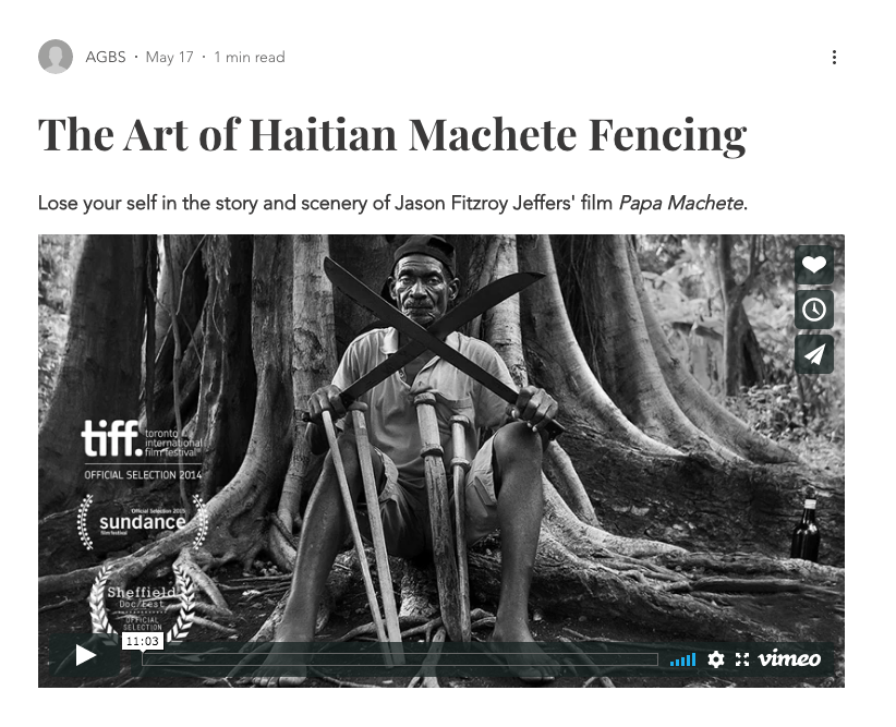 Film still from The Art of Haitian Machete Fencing.