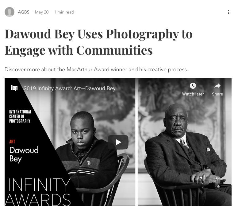 2019 Infinity Award: Art - Dawoud Bey.