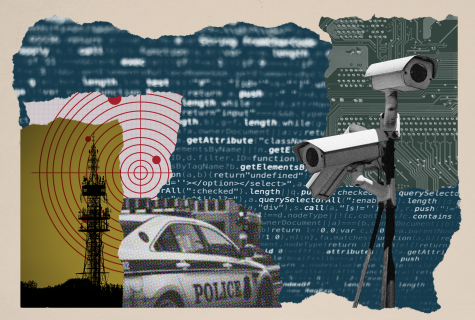 Collage with surveillance camera, police car, code and communications tower.