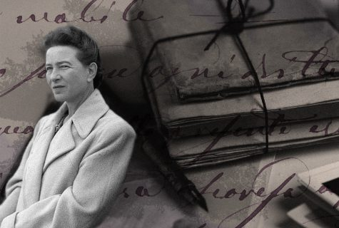 Simone de Beauvoir in foreground with a stack of letters tied with string in background.