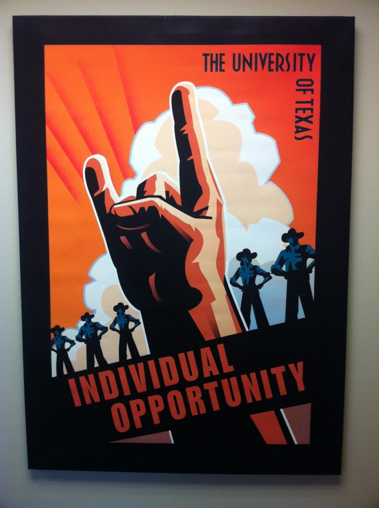 """""""Individual Opportunity"""" poster at UT Austin."""