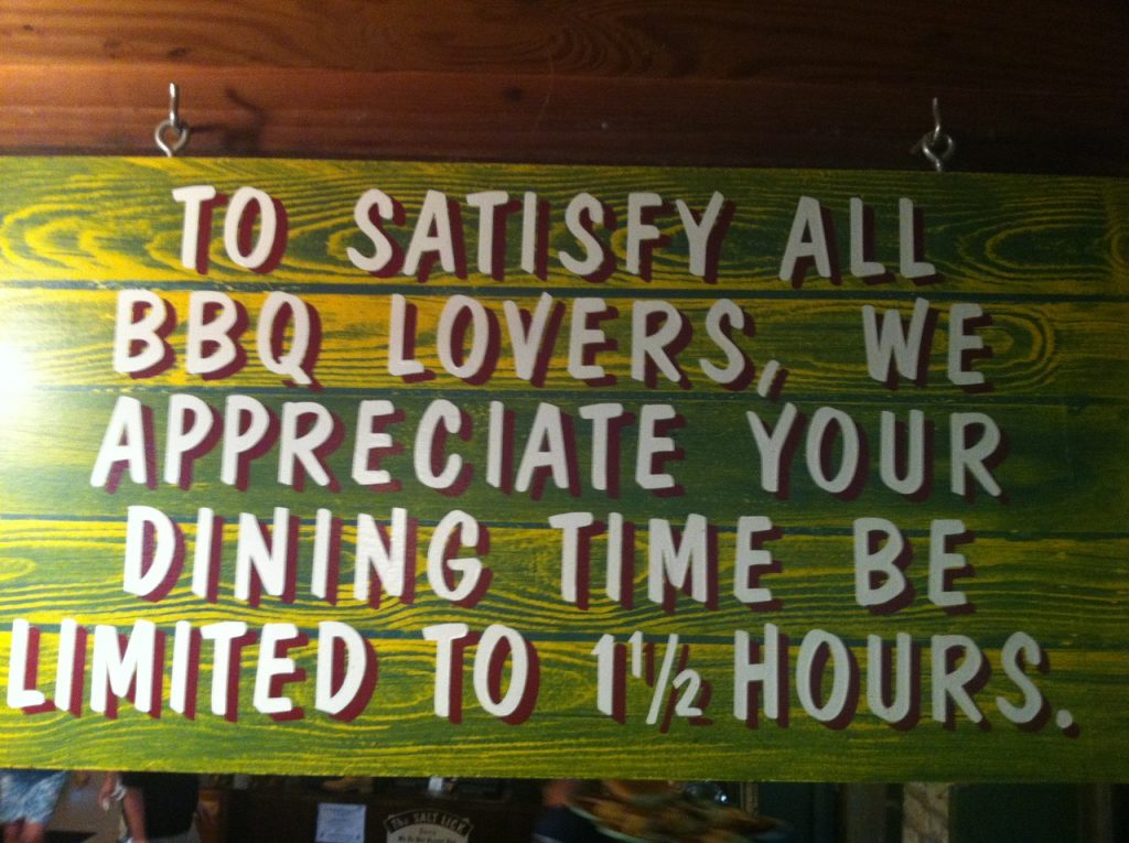 Salt Lick sign with one and a half hour  dining time limit.