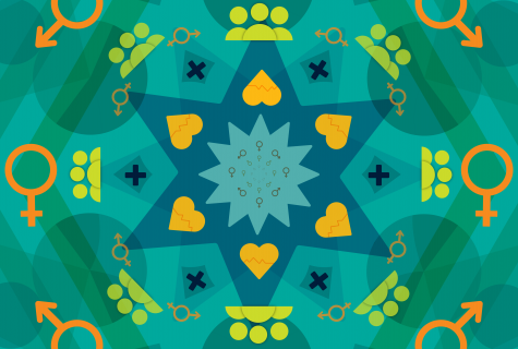 Kaleidoscope pattern with symbols representing gender, health and relationships.