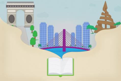 book illustration opening into travel icons: bridge, arch and buildings.