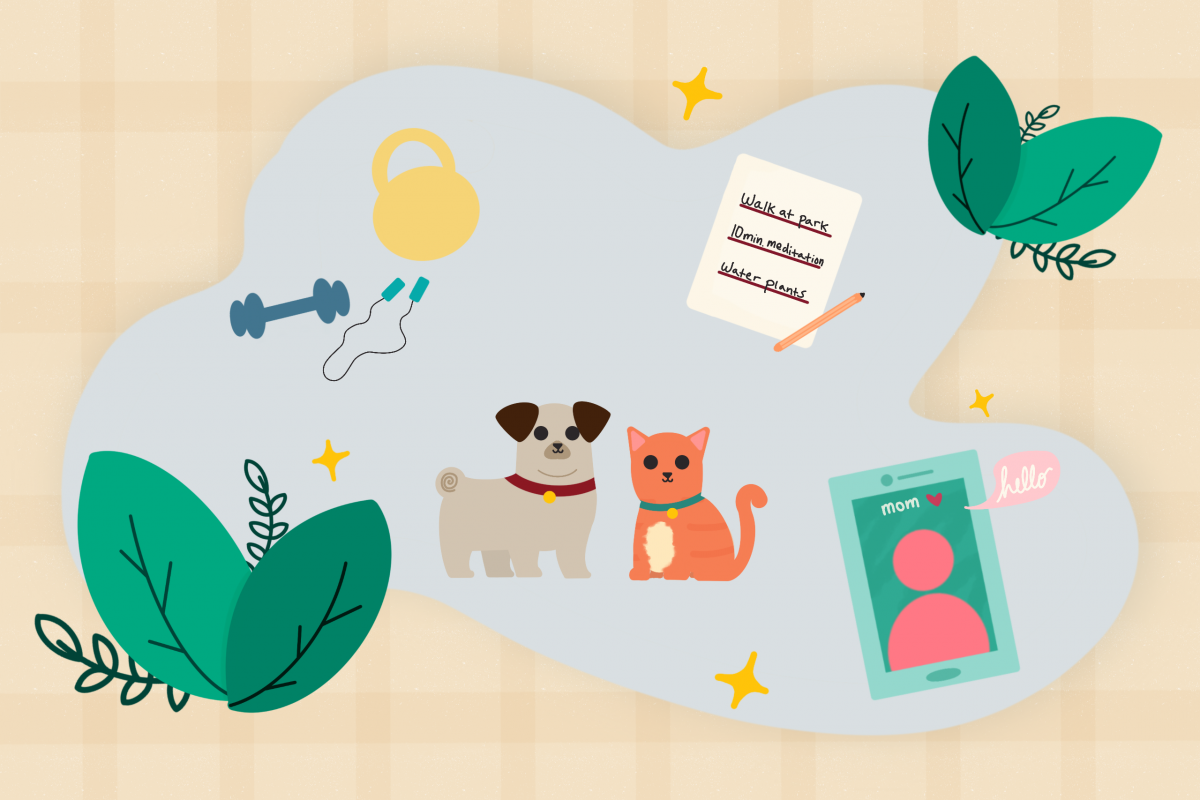 Illustration with exercise equipment, pets, personal checklist, plants and tablet screen with mom.