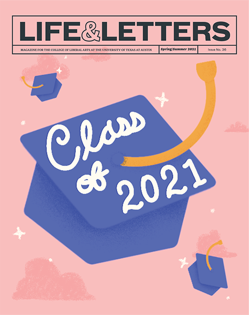 Life & Letters spring/summer 2021 cover with pink background and graduation cap illustration.