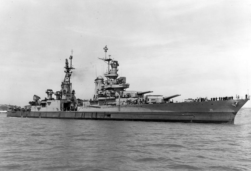 USS Indianapolis in Navy Yard, 1945