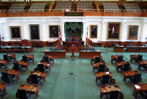 Empty Texas Senate Chambers.
